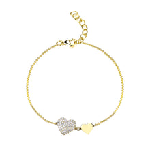 Load image into Gallery viewer, 14k Gold & Diamond Heart Bracelet