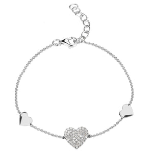 14k Gold & Diamond Heart Bracelet