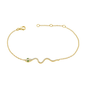 14k Gold & Diamond Snake Bracelet