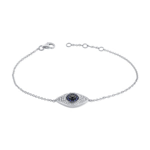 14k Gold & Diamond Evil Eye Bracelet