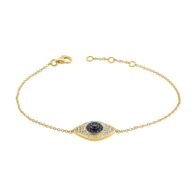 Load image into Gallery viewer, 14k Gold & Diamond Evil Eye Bracelet