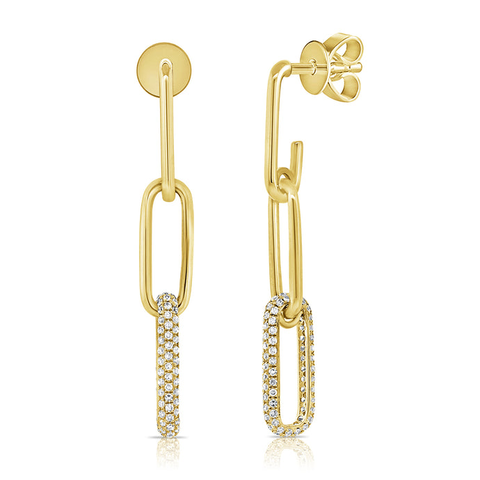 14k Gold & Diamond Paperclip Link Earrings