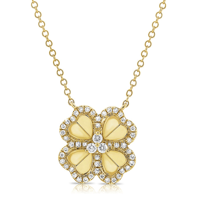 14k Gold & Diamond Flower Necklace