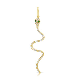 14k Gold & Diamond Snake Charm