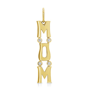 14k Gold & Diamond Mom Charm