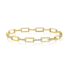 Load image into Gallery viewer, 14k Gold & Diamond Rectangle Link Bracelet
