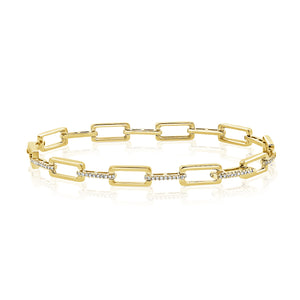 14k Gold & Diamond Rectangle Link Bracelet