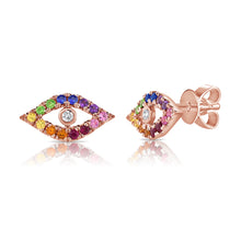 Load image into Gallery viewer, Sabrina Designs 14K Rose Gold Rainbow Evil Eye Studs