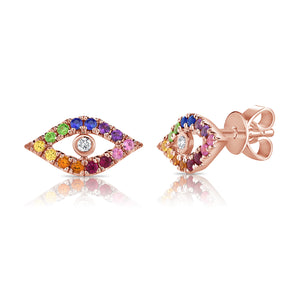 Sabrina Designs 14K Rose Gold Rainbow Evil Eye Studs