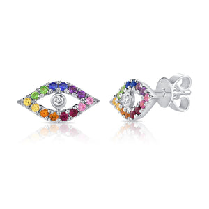 Sabrina Designs 14K White Gold Rainbow Evil Eye Studs