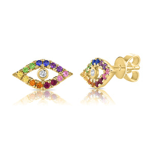 Sabrina Designs 14K Yellow Gold Rainbow Evil Eye Studs