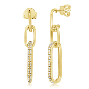 14k Gold & Diamond Link Drop Earrings