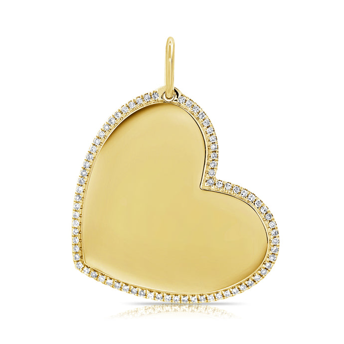 14k Gold & Diamond Heart Charm