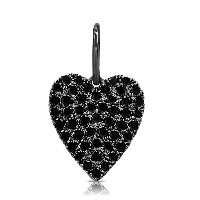 14k Gold & Black Diamond Heart Charm