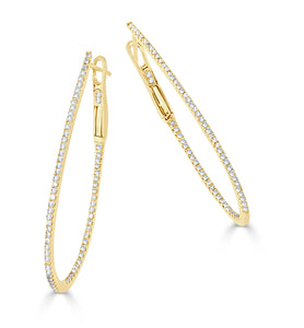 Sabrina Designs 14k Yellow Gold Thin Pear-Shaped Diamond Hoops