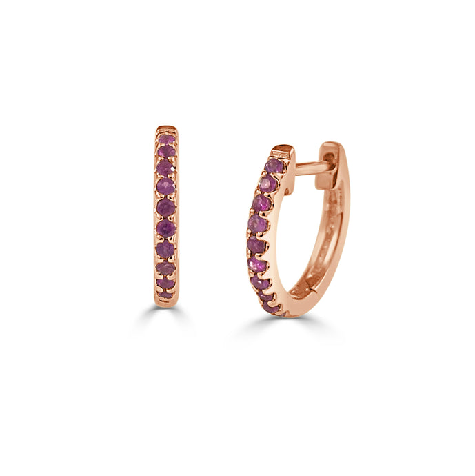 Sabrina Designs 14k Rose Gold Ruby Huggy Earrings