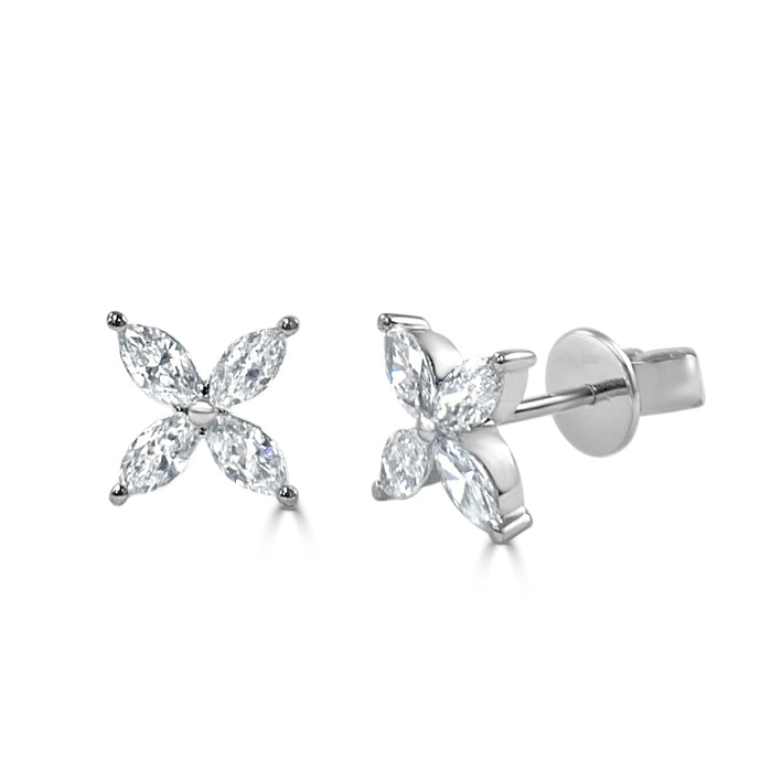 Sabrina Designs 14k White Gold Diamond Marquise Cluster Studs