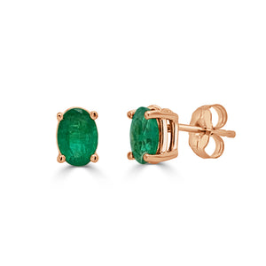 14K Gold & Emerald Oval Studs
