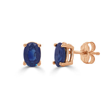 Load image into Gallery viewer, 14k Gold & Sapphire Oval Studs