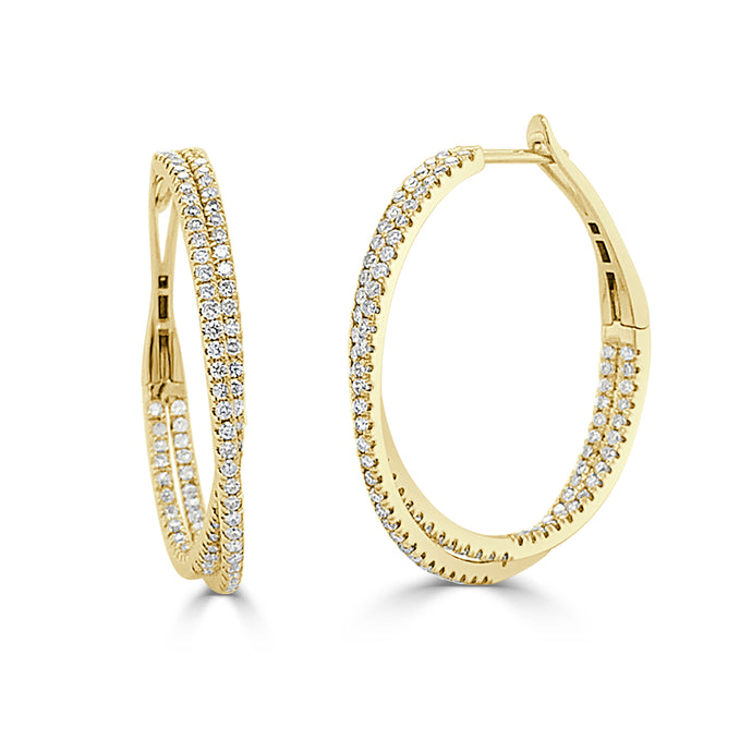 14k Gold & Diamond Criss-Cross Hoop Earrings