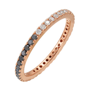 Sabrina Designs 14K Rose Gold Black and White Diamond Eternity Ring