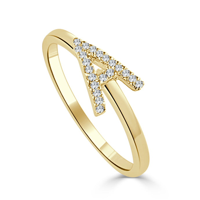Sabrina Designs 14K Yellow Gold Horizontal Diamond Initial Ring