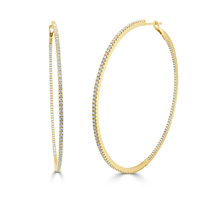 14k Gold & Diamond Hoop Earrings