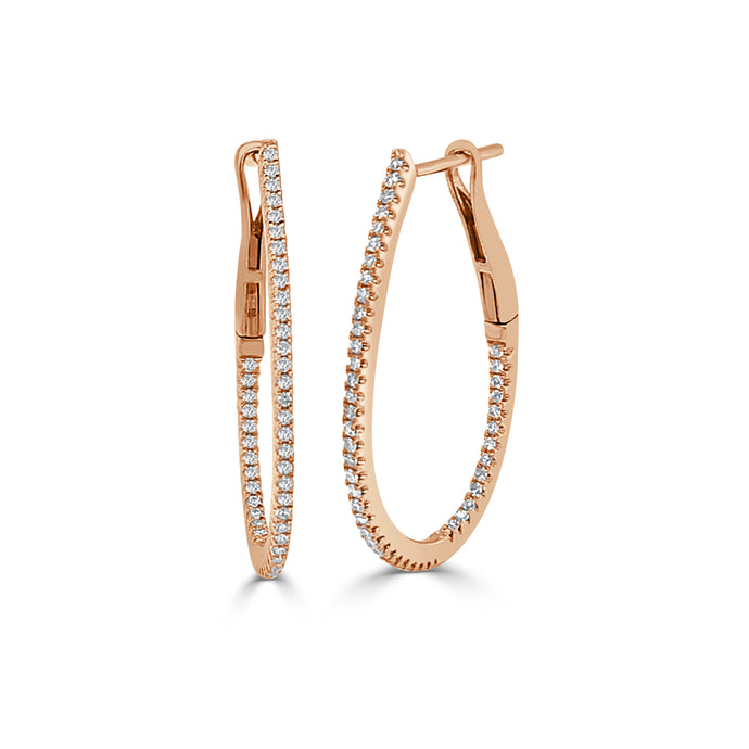 14k Gold & Diamond Skinny Hoop Earrings 1