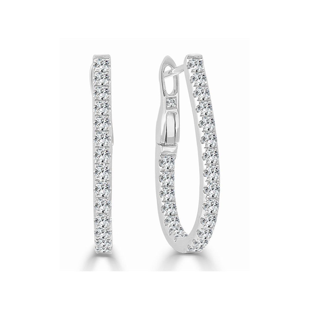 Sabrina Designs 14k White Gold Diamond Pear-Shaped Small Hoops