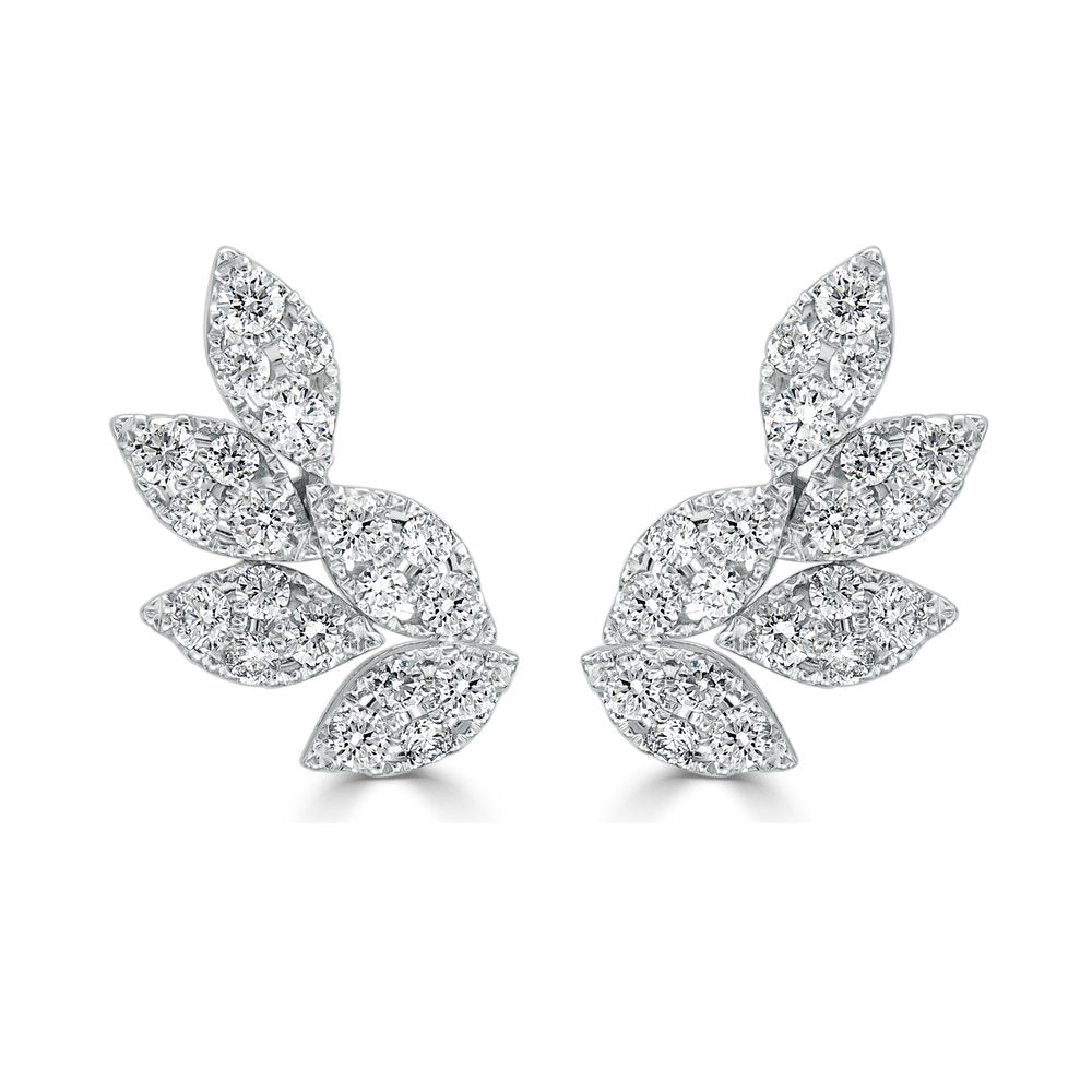Sabrina Designs 18k White Gold Diamond Cluster Ear Climbers