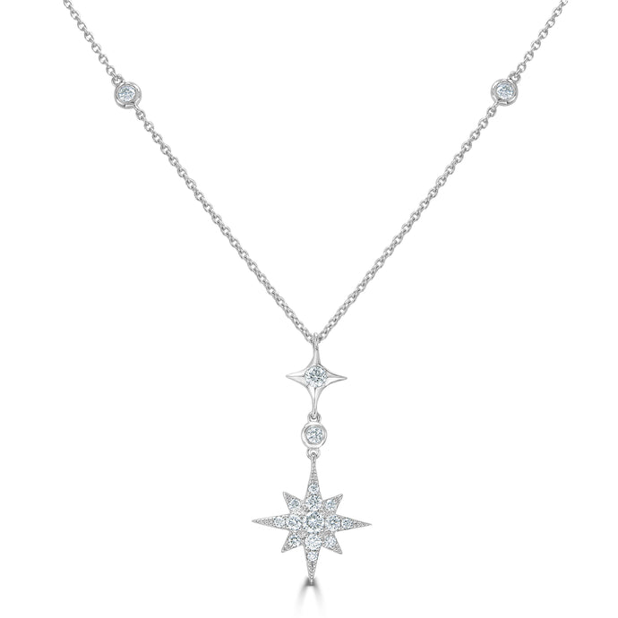 Sabrina Designs 18k White Gold Diamond Starburst Necklace