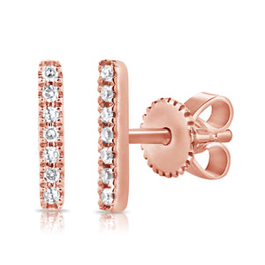 Sabrina Designs 14K Rose Gold Diamond Bar Earrings
