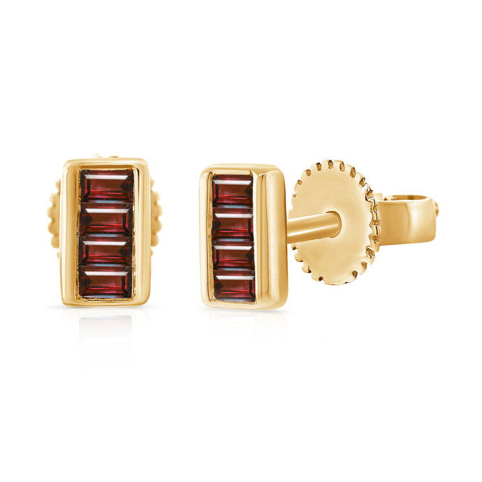 14k Gold & Baguette Ruby Stud Earrings