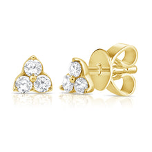 Load image into Gallery viewer, 14k Gold & Diamond Tiny Stud Earrings