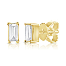 Load image into Gallery viewer, 14k Gold & Diamond Baguette Studs
