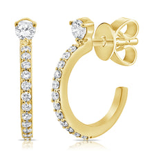 Load image into Gallery viewer, 14k Gold & Diamond Huggie Earrings