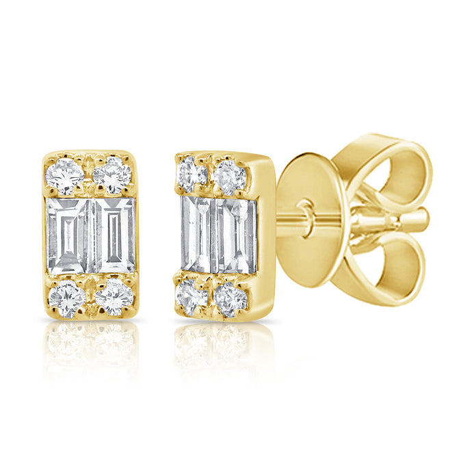 14k Gold & Baguette Diamond Earrings