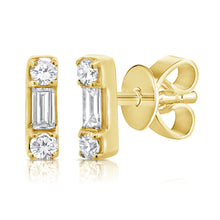 Load image into Gallery viewer, 14k Gold & Diamond Baguette Stud Earrings