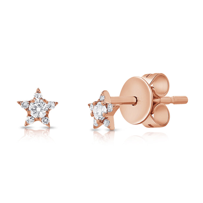 14k Gold & Diamond Tiny Star Studs