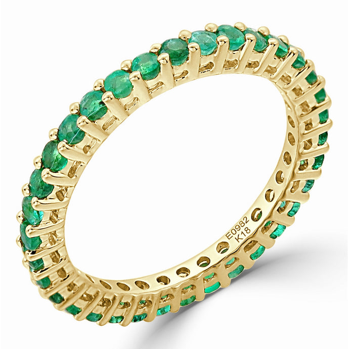 Sabrina Designs 14K Yellow Gold Green Emerald Eternity Ring