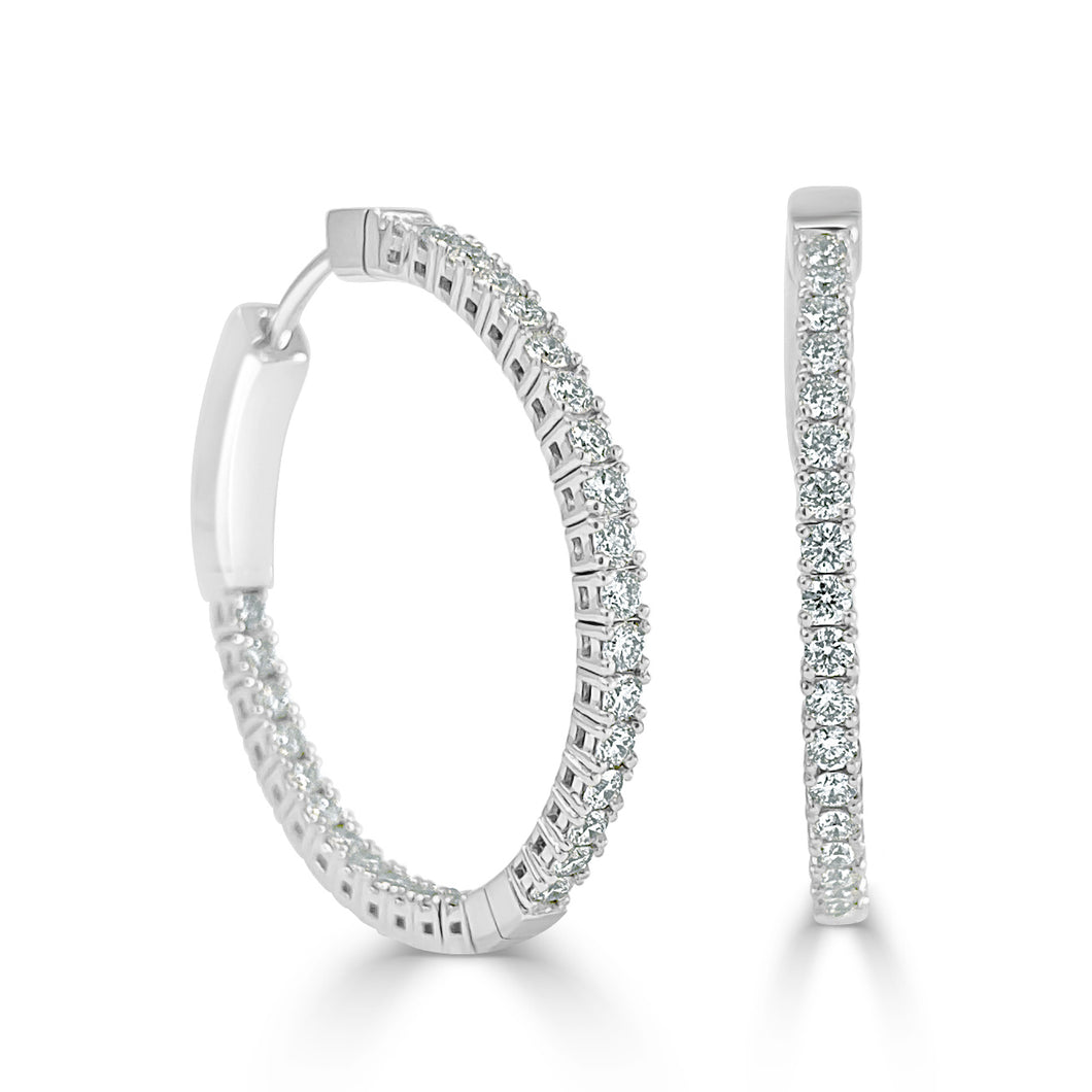 Sabrina Designs 14K White Gold Flexible Diamond Hoops