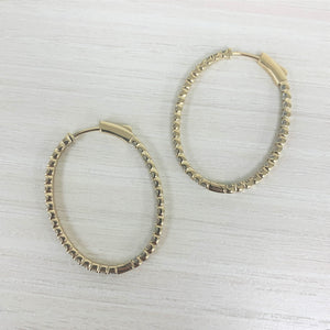14k Gold & Diamond Oval Hoop Earrings  - 1.5''