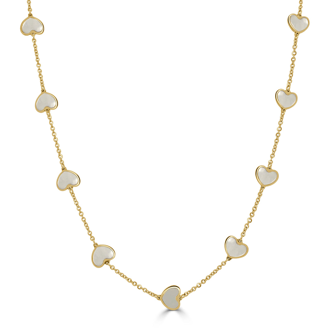 14k Gold & Mother of Pearl Heart Necklace