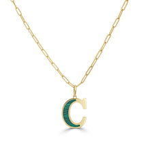 Load image into Gallery viewer, 14k Gold & Malachite Initial Necklace - Medium