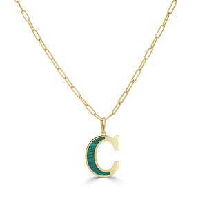 14k Gold & Malachite Initial Necklace - Medium