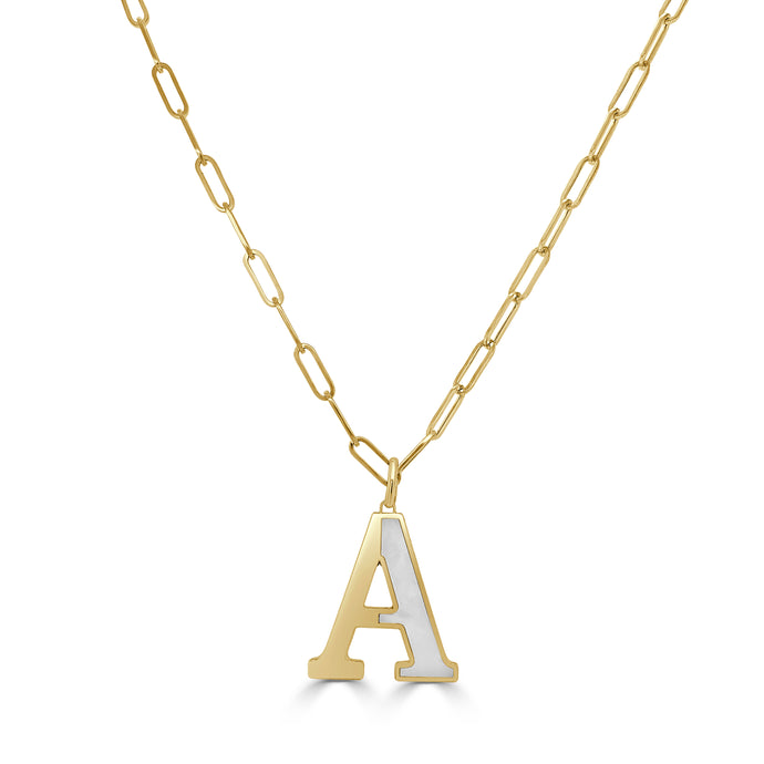 14k Gold initial Necklace - Large