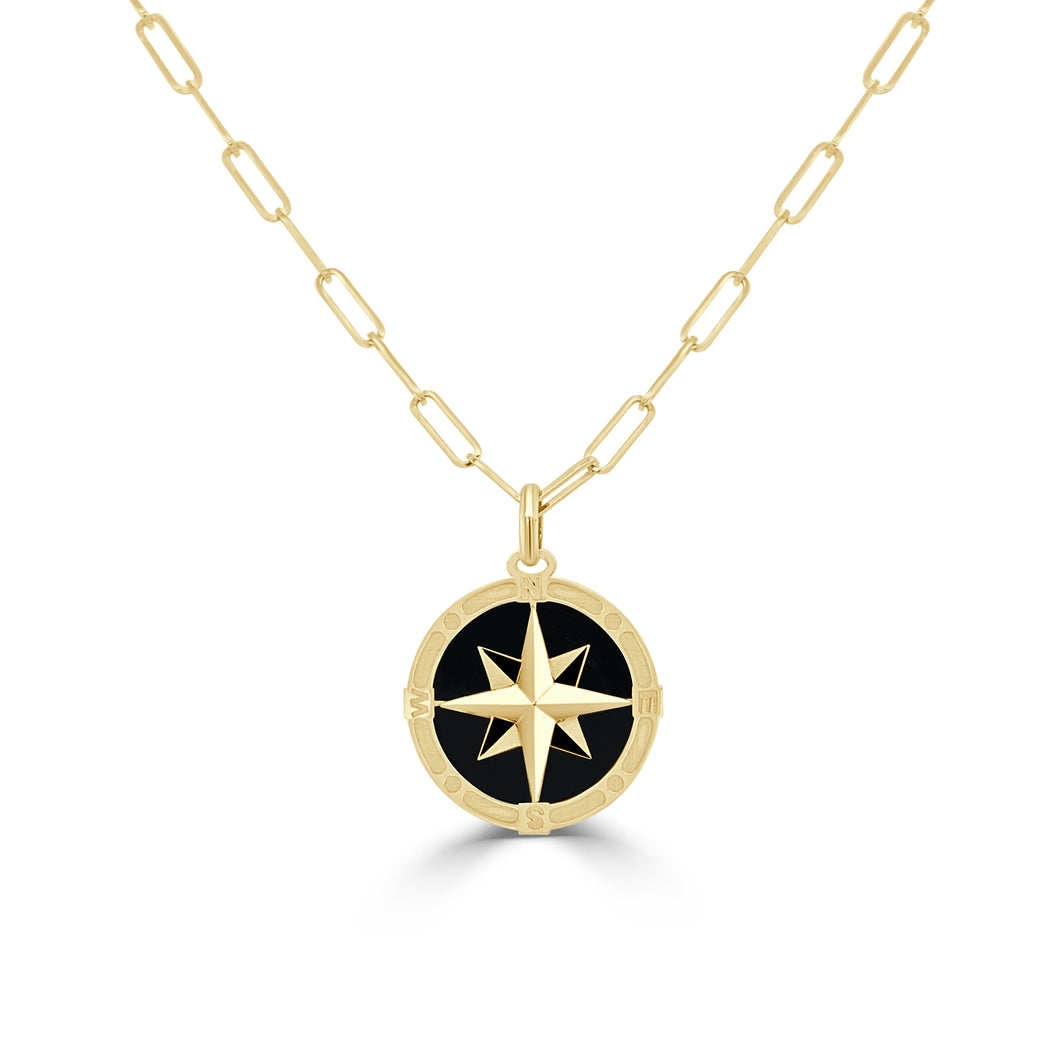 14k Gold & Onyx Compass Necklace