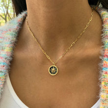 Load image into Gallery viewer, 14k Gold & Onyx Compass Necklace