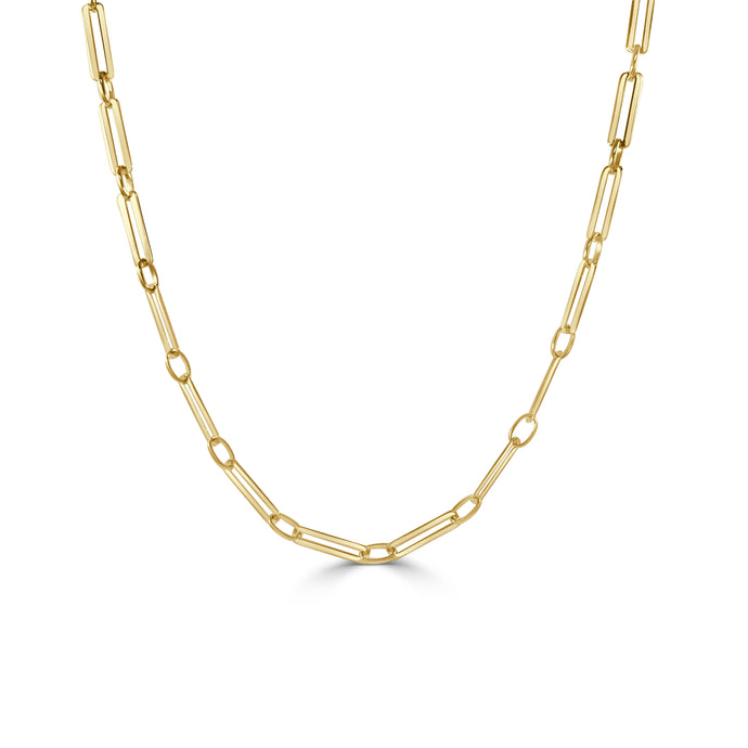 14k Gold Paperclip Link Necklace
