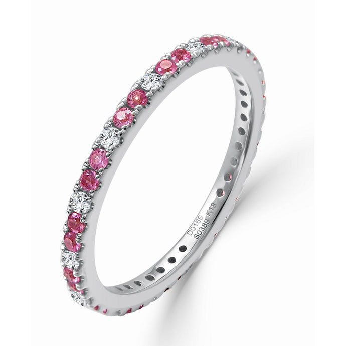 Sabrina Designs 14K White Gold Diamond and Pink Sapphire Ring
